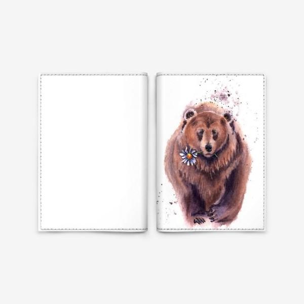 Обложка для паспорта «мишка с ромашкой»