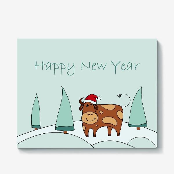 Холст «Поздравление С Новым Годом. 2021. Символ нового года 2021»
