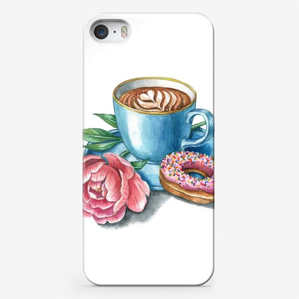 Чехол iPhone «Чашка кофе пион и пончик»