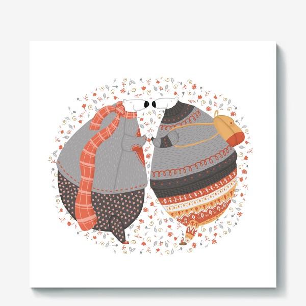 Холст «Мишки в любви»