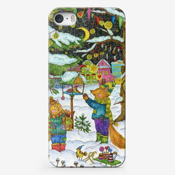 Чехол iPhone «Кот и лис в сказочном лесу»