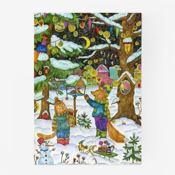 Постер «Кот и лис в сказочном лесу»