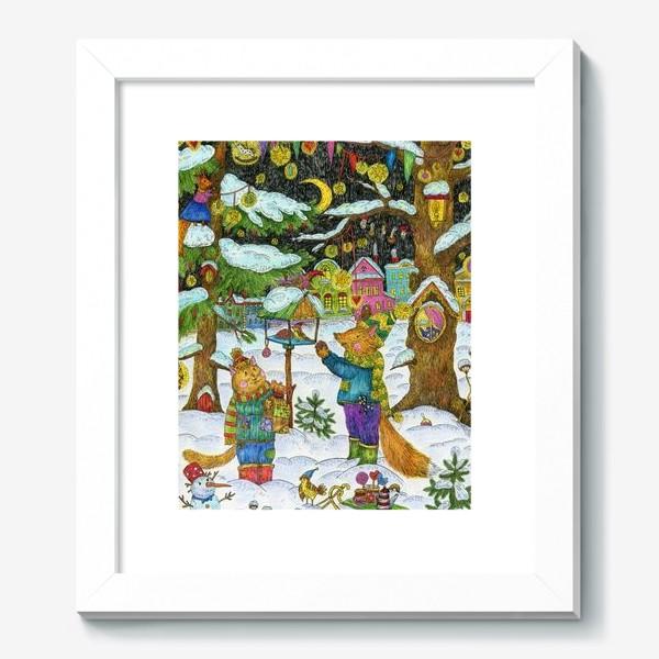 Картина «Кот и лис в сказочном лесу»