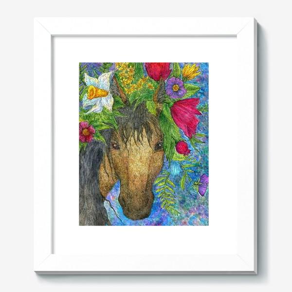 Картина «Лошадь и весенние цветы»