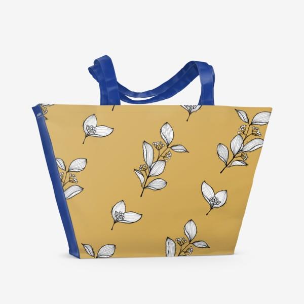 Пляжная сумка «Веточки с ягодами на бежевом фоне,  графика»