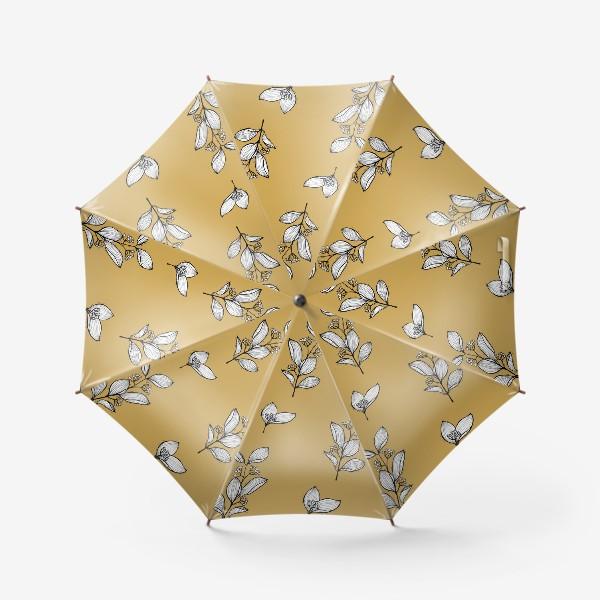 Зонт «Веточки с ягодами на бежевом фоне,  графика»