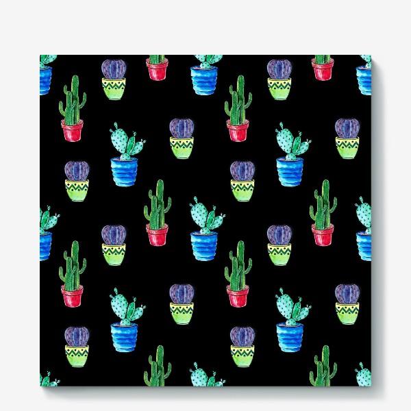Холст «Акварельные кактусы на черном фоне»