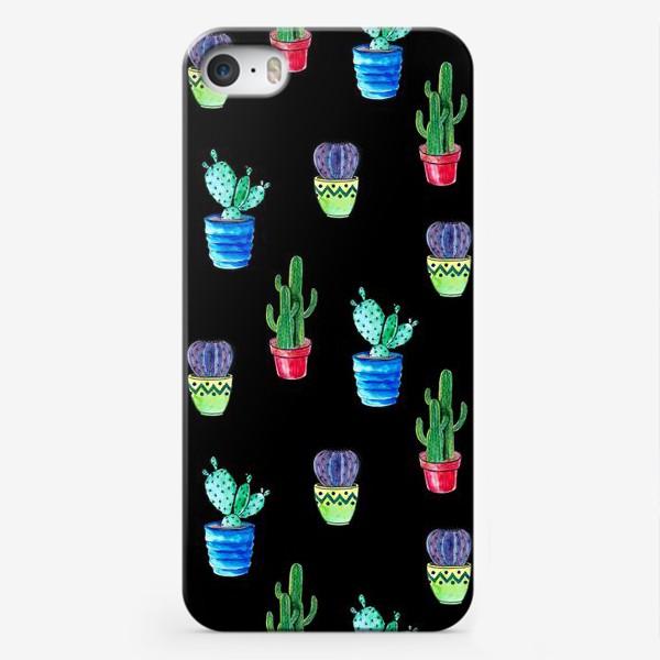 Чехол iPhone «Акварельные кактусы на черном фоне»