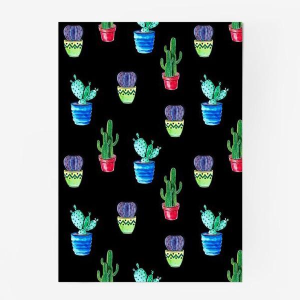 Постер «Акварельные кактусы на черном фоне»