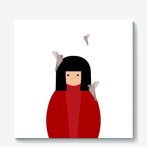Холст «Восточная девушка с оригами - птицами»