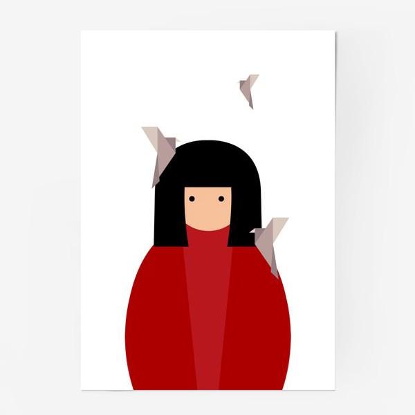 Постер «Восточная девушка с оригами - птицами»