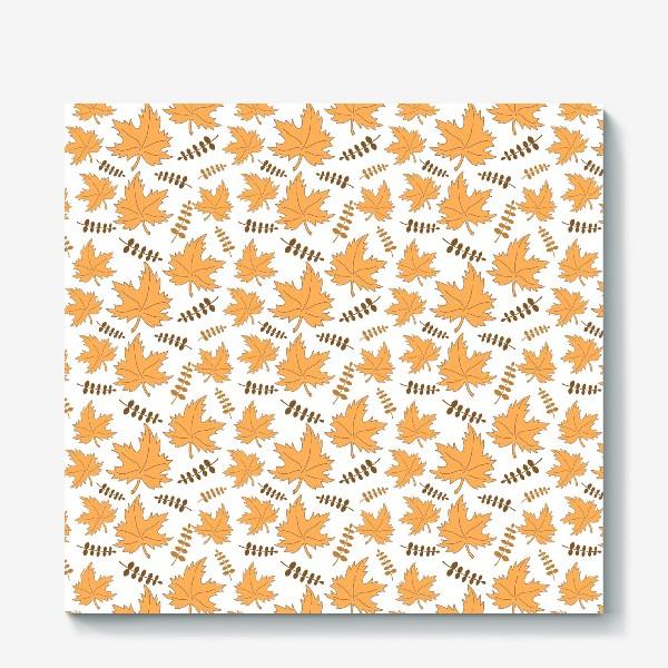 Холст «Осенние листья клена и веточки»
