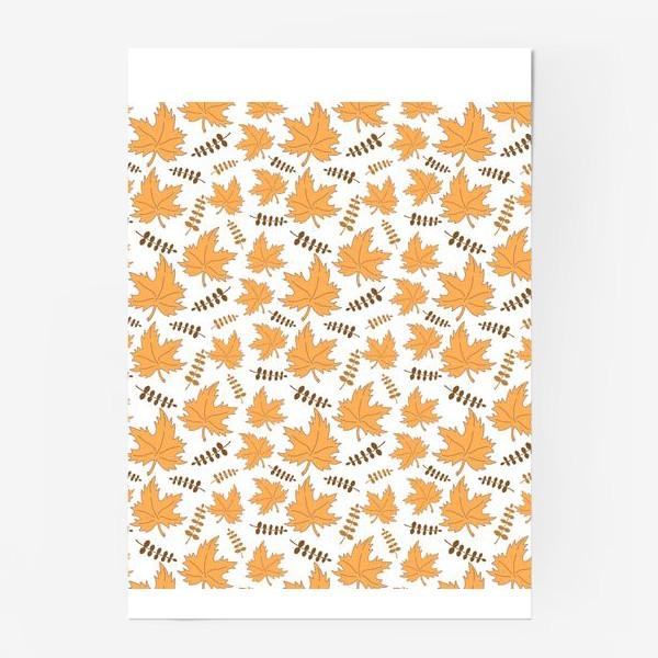 Постер «Осенние листья клена и веточки»