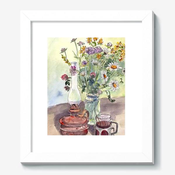 Картина «летний натюрморт со стаканом чая»