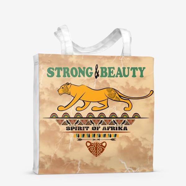 Сумка-шоппер «STRONG & BEAUTY. Львица на гранжевом фоне»