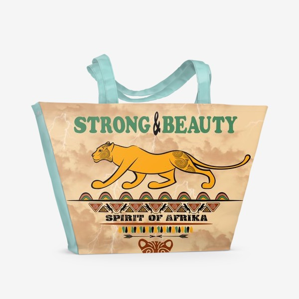 Пляжная сумка «STRONG & BEAUTY. Львица на гранжевом фоне»