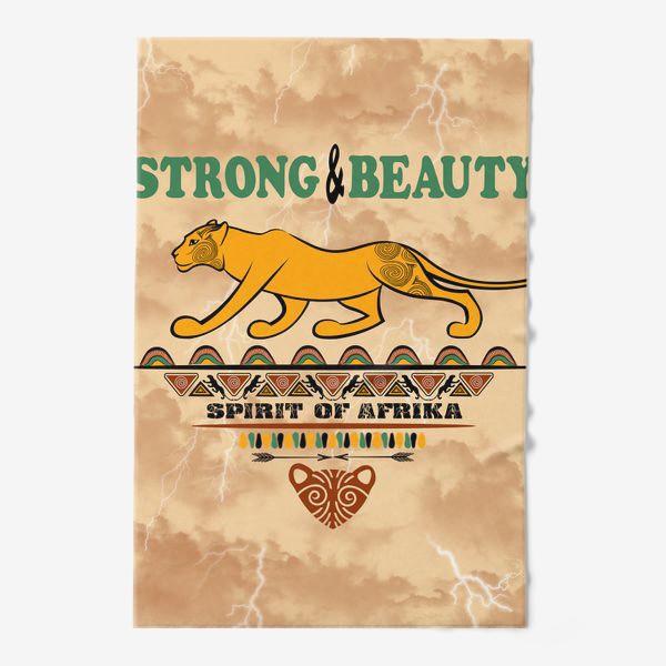 Полотенце «STRONG & BEAUTY. Львица на гранжевом фоне»