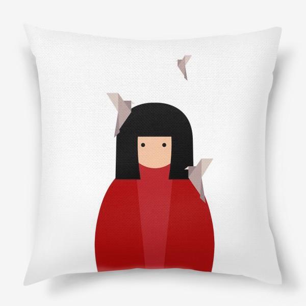 Подушка «Восточная девушка с оригами - птицами»
