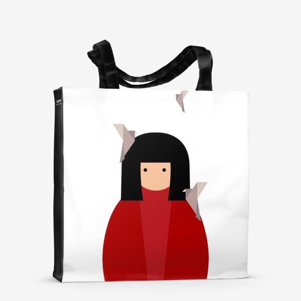 Сумка-шоппер «Восточная девушка с оригами - птицами»