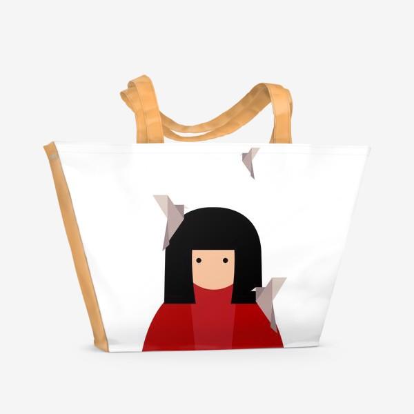 Пляжная сумка «Восточная девушка с оригами - птицами»