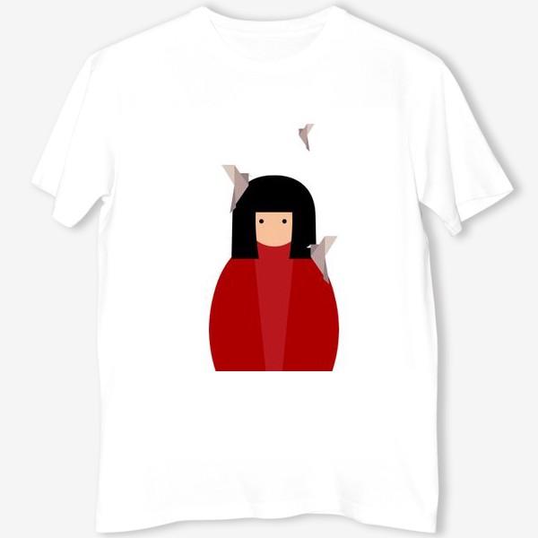 Футболка «Восточная девушка с оригами - птицами»