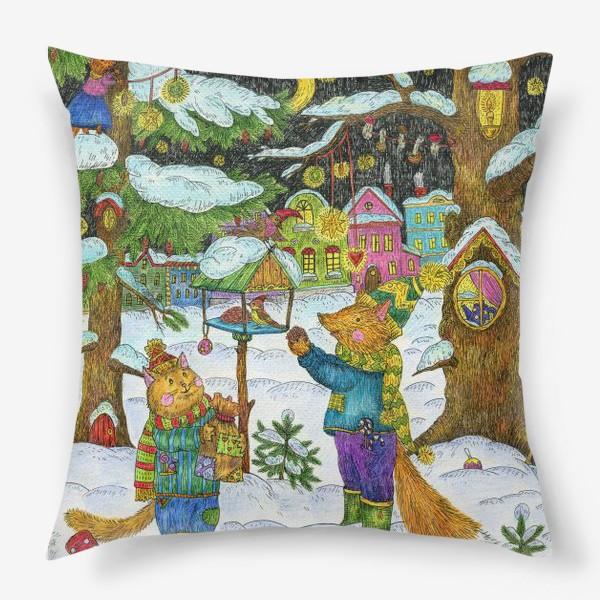 Подушка «Кот и лис в сказочном лесу»