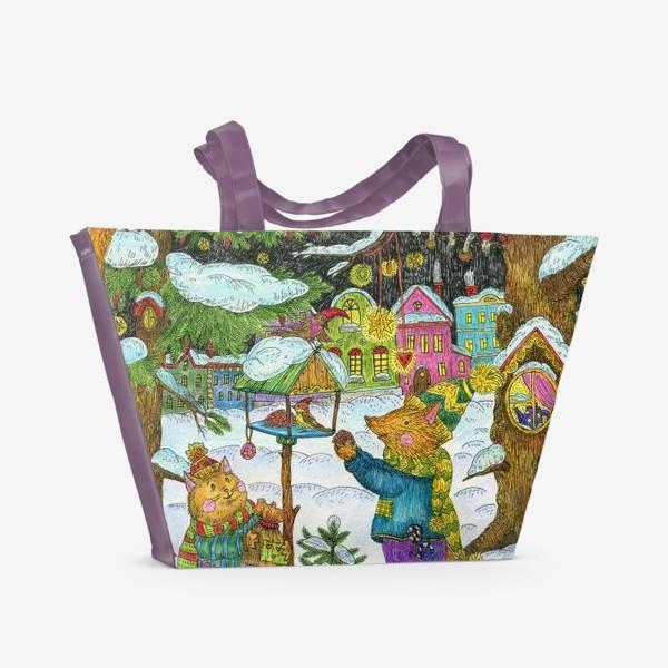 Пляжная сумка «Кот и лис в сказочном лесу»