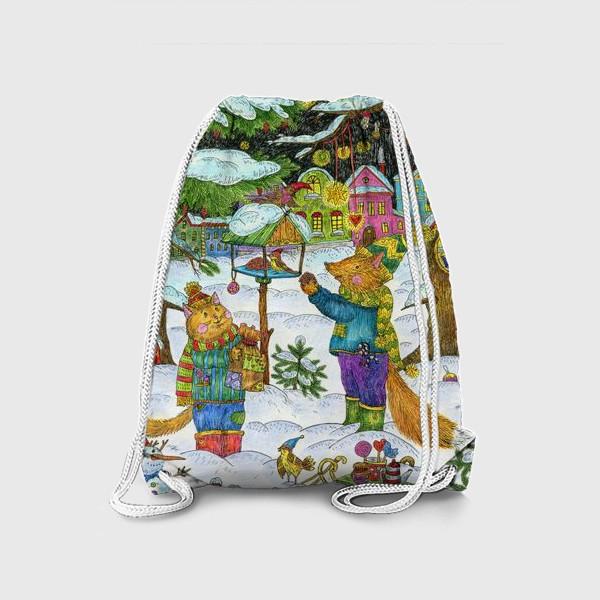Рюкзак «Кот и лис в сказочном лесу»