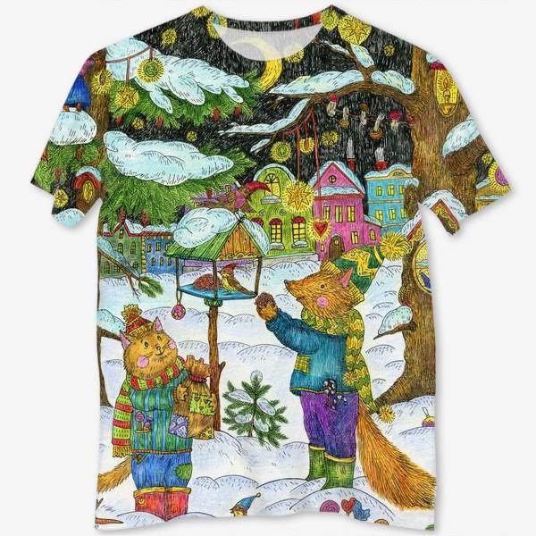 Футболка с полной запечаткой «Кот и лис в сказочном лесу»