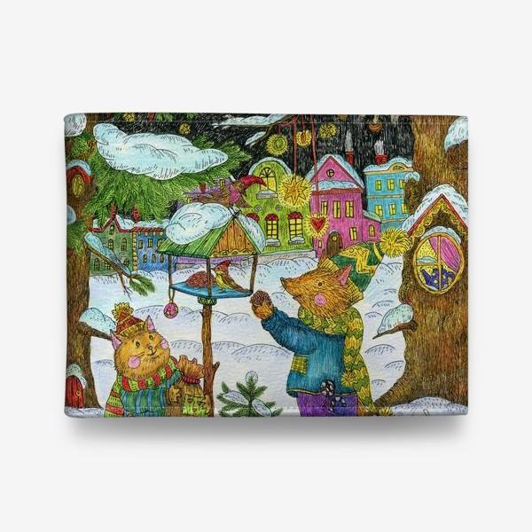 Кошелек «Кот и лис в сказочном лесу»