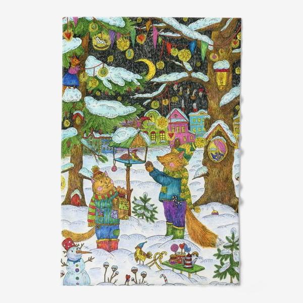 Полотенце «Кот и лис в сказочном лесу»