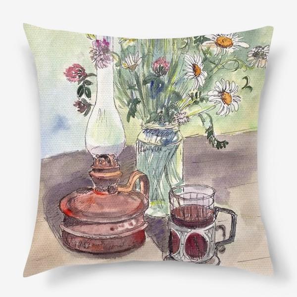 Подушка «летний натюрморт со стаканом чая»