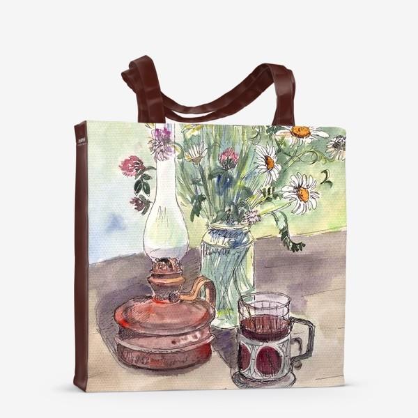 Сумка-шоппер «летний натюрморт со стаканом чая»