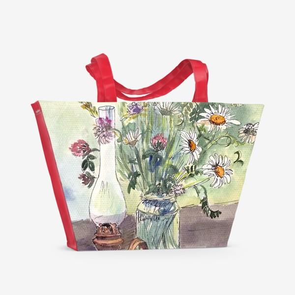 Пляжная сумка «летний натюрморт со стаканом чая»