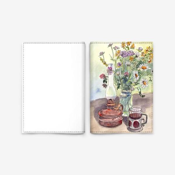 Обложка для паспорта «летний натюрморт со стаканом чая»