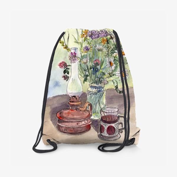 Рюкзак «летний натюрморт со стаканом чая»