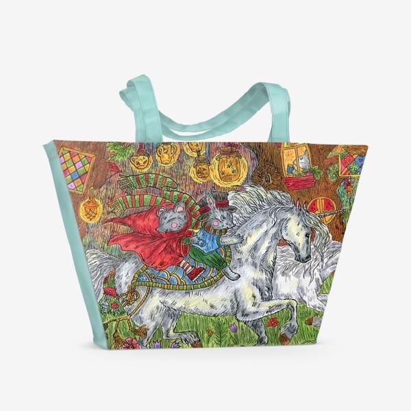 Пляжная сумка «Путешествие с единорогами»