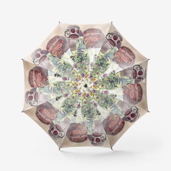Зонт «летний натюрморт со стаканом чая»
