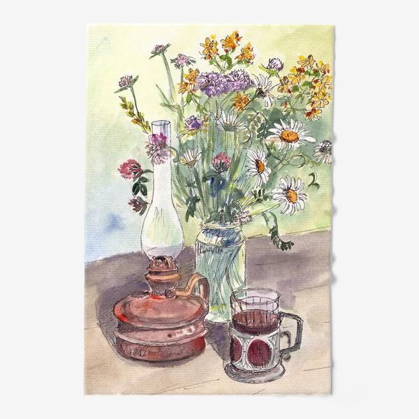 Полотенце «летний натюрморт со стаканом чая»