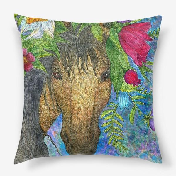 Подушка «Лошадь и весенние цветы»