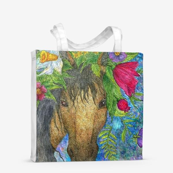 Сумка-шоппер «Лошадь и весенние цветы»