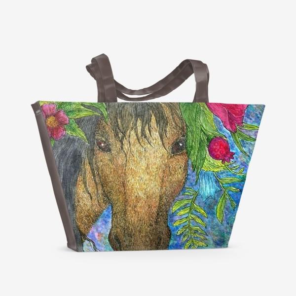 Пляжная сумка «Лошадь и весенние цветы»