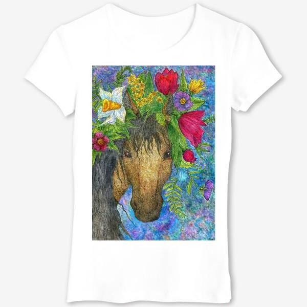 Футболка «Лошадь и весенние цветы»