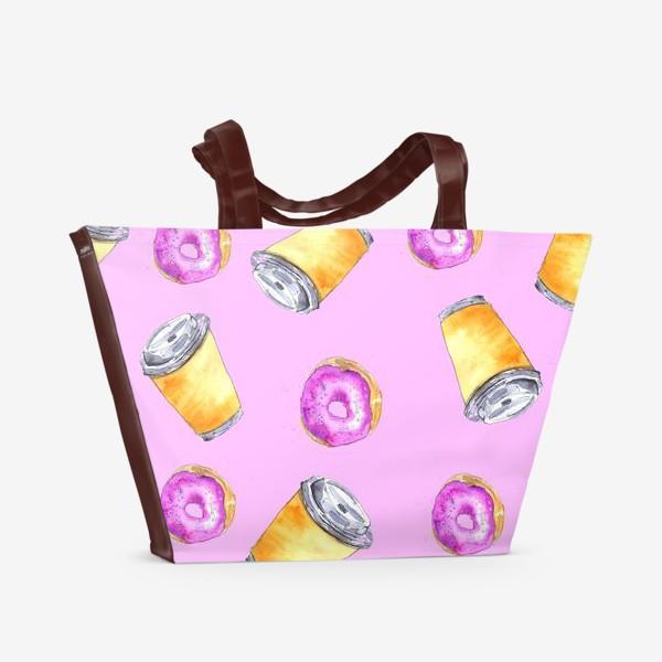 Пляжная сумка «Кофе и пончики»