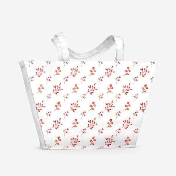 Пляжная сумка «Алые веточки»