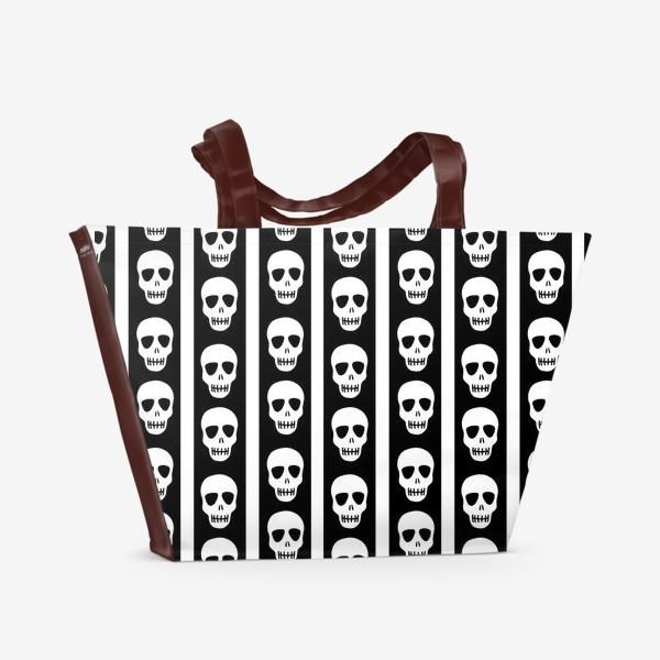 Пляжная сумка «Брутальный принт черепа. Эмо. Хэллуин»