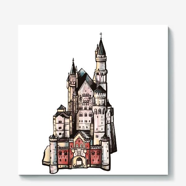 Холст «замок Нойшванштайн. Бавария. Германия. Графика»