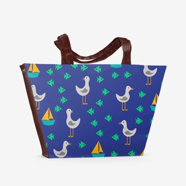 Пляжная сумка «Чайки, рыбы, корабли»