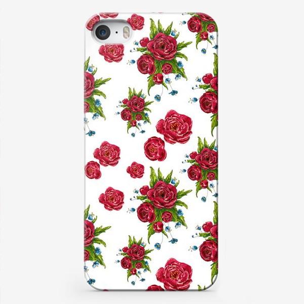 Чехол iPhone «красные цвето4ки»