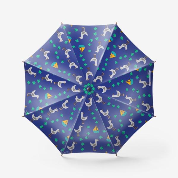 Зонт «Чайки, рыбы, корабли»